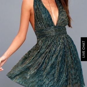 Lulus Gold and Blue Cocktail Dress